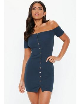 Navy Bardot Ribbed Popper Mini Dress by Missguided