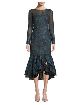 Long Sleeve Metallic Embroidered Ruffle Hem Dress by David Meister