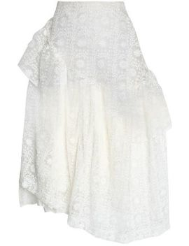 Asymmetric Embroidered Cotton Blend Organza Midi Skirt by Simone Rocha