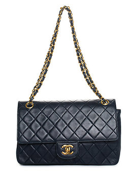 Chanel Navy Quilted Lambskin Leather Medium Classic Double Flap Bag by Chanel