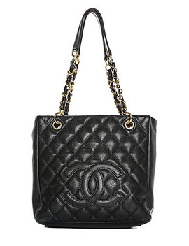 Chanel Black Quilted Leather Cc Petit Shopping Tote by Chanel