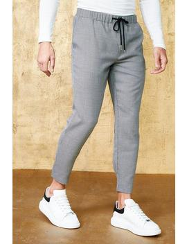 Mini Houndstooth Cropped Smart Jogger by Boohoo