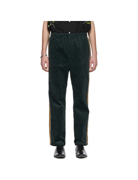 Green Corduroy Track Trousers by Bode