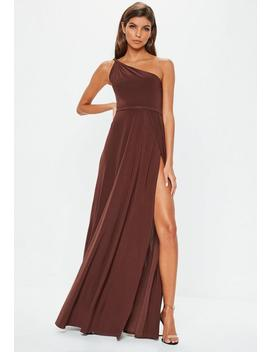 Brown One Shoulder Slinky Maxi Dress by Missguided