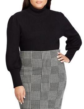 Plus Ribbed Puff Sleeve Sweater by Lauren Ralph Lauren