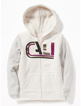 Graphic Sherpa Lined Zip Hoodie For Girls by Old Navy