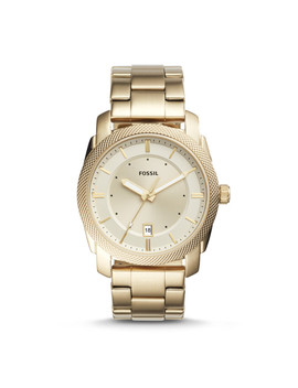 Machine Three Hand Date Gold Tone Stainless Steel Watch by Fossil