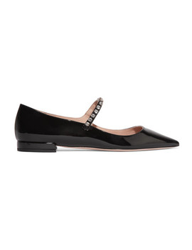 Crystal Embellished Patent Leather Point Toe Flats by Miu Miu