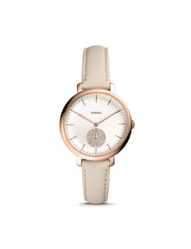 Jacqueline Three Hand Winter White Leather Watch by Fossil