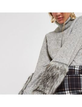 Grey Knit Faux Fur Trim Roll Neck Sweater by River Island