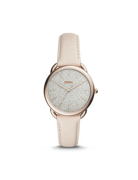 Tailor Three Hand Winter White Leather Watch by Fossil
