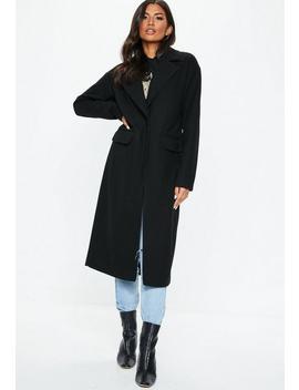 Black Longline Faux Wool Coat by Missguided