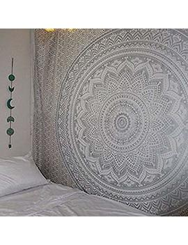 """Exclusive """" Orignal Silver Ombre Tapestry By Labhanshi"""" , Mandala Tapestry, Twin Indian Mandala Wall Art Hippie Wall Hanging Bohemian Bedspread by Labhanshi"""