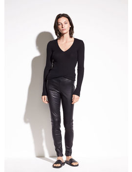 Zip Ankle Leather Legging by Vince