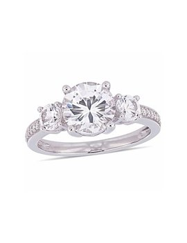 Miabella 3 Carat T.G.W. Created White Sapphire And Diamond Accent 10kt White Gold Three Stone Engagement Ring by Miabella