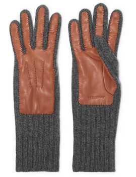 Ribbed Cashmere And Leather Gloves by Burberry