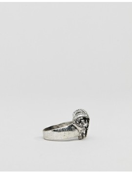 Asos Design Ring With Rams Head In Burnished Silver Tone by Asos Design