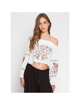 Embroidered Off Shoulder Top In White by Wet Seal