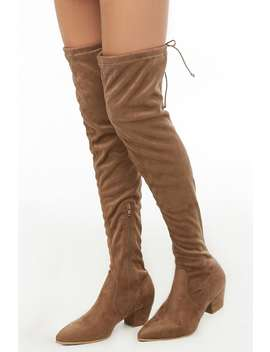 Faux Suede Over The Knee Sock Boot by Forever 21