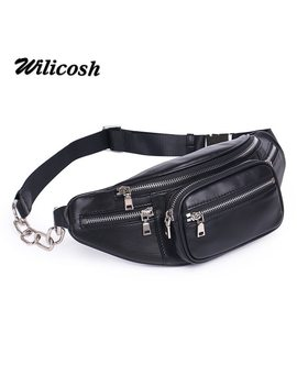 Wilicosh Genuine Leather Waist Bag Women Waist Pack Waist Bag Funny Pack Belt Bag Women Chain Waist Bag For Phone Df0301 by Wilicosh