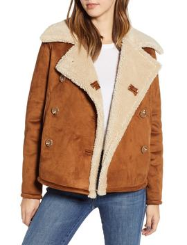 The Shrunken Faux Shearling Peacoat by Mother