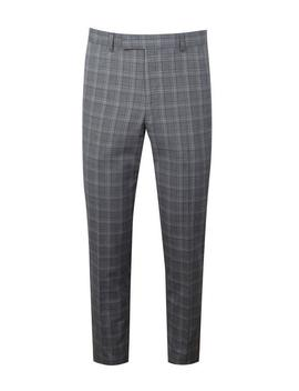 Linen Check Skinny Fit Suit Trouser by Boohoo
