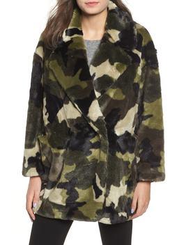 Camo Print Faux Fur Coat by Nvlt