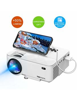 """Mini Projector, T Topvision Projector With Synchronize Smart Phone Screen +50 Percents Lumens, Supported 1080 P, 176"""" Display, 50,000 Hours Led, Compatible With Fire Tv Stick/Hdmi/Vga/Usb/Tv/Box/Laptop/Dvd by T Topvision"""