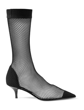 Fishnet, Faux Suede And Pu Sock Boots by Stella Mc Cartney