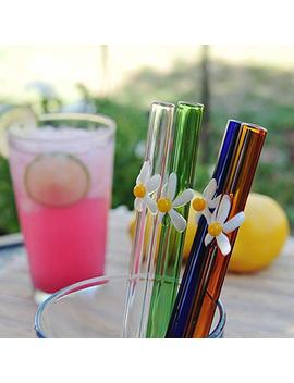 """Doctorbee Straight Glass Drinking Straws 12 Mm 9"""" Sunflower Straw For Smoothie Milk Coffee Set Of 4 Capitalized With A Brush Clear Blue Green Amber by Doctorbee"""