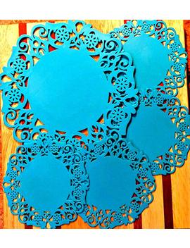 Silicone Lace Coasters From Dish It D'lishious! Set Of 5: 1 Large/4 Small For Teapot & Cup Holders, Drink/Pitcher Placemat, Hot Pad, Jar Opener, Spoon Rest (Blue) by Dish It D'lishious!