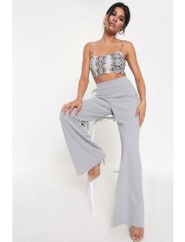 Slate Grey Basic High Waisted Palazzo Trousers by I Saw It First