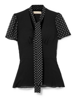 Pussy Bow Embellished Georgette Top by Michael Michael Kors