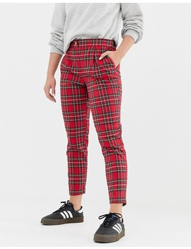 New Look Tapered Pants In Red Tartan by New Look