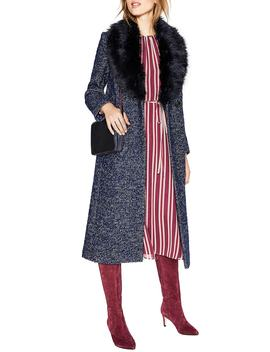 Burley Removable Faux Fur Collar Tweed Coat by Boden