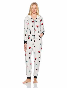 Mae Women's Sleepwear Microfleece Hooded Onesie Pajamas With Poms by Mae