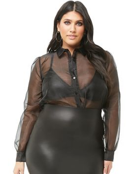 Plus Size Sheer Sheeny Shirt by Forever 21