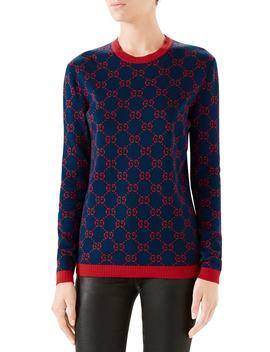 Gg Logo Jacquard Sweater by Gucci