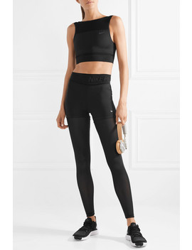 Pro Deluxe Layered Mesh Paneled Stretch Leggings by Nike