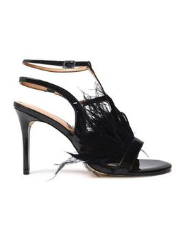 Tasha Feather Embellished Patent Leather Sandals by Halston Heritage