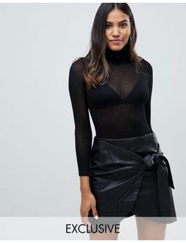 Parallel Lines Sheer Knit Turtleneck Body by Parallel Lines