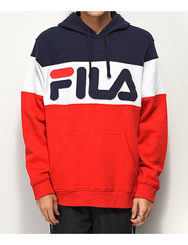Fila Flaminio Navy, Red & White Color Blocked Hoodie by Fila