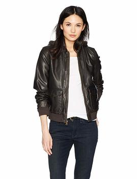 Levi's Women's Two Pocket Faux Leather Hooded Bomber Jacket With Sherpa by Levi%27s