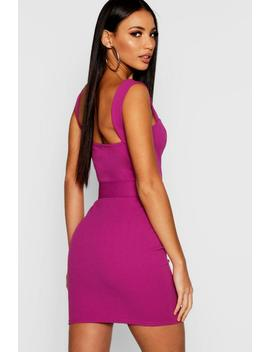 Square Neck Belted Bodycon Dress by Boohoo