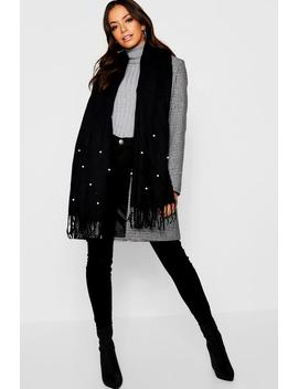 Pearl Embellished Woven Scarf by Boohoo