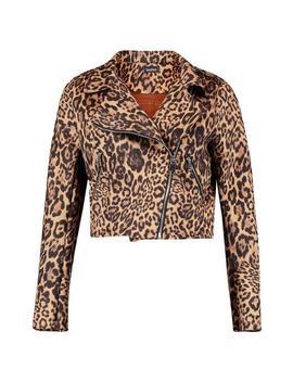 Leopard Print Suedette Biker Jacket by Boohoo