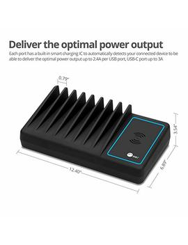 Siig 10 Port 90 W Usb Charging Station With Qi Wireless And Usb C Charging, Ambient Light Deck Compatible With I Phone I Pad Samsung Galaxy Google Nexus by Siig