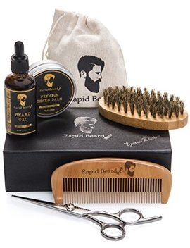 Beard Grooming & Trimming Kit For Men Care   Beard Brush, Beard Comb, Unscented Beard Oil Leave In Conditioner, Mustache & Beard Balm Butter Wax,... by Rapid Beard