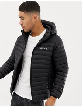 Nicce Puffer Jacket In Black With Hood by Nicce