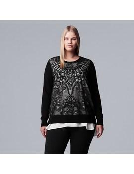 Plus Size Simply Vera Vera Wang Lace Mock Layer Sweater by Kohl's